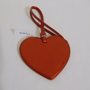 Coach Burnt Orange Glitter Leather Heart Charm
